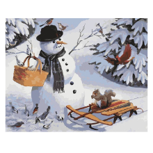 RIHE Snowman Diy Painting By Numbers Squirrel Oil On Canvas Hand Painted Cuadros Decoracion Acrylic Paint Home Decor