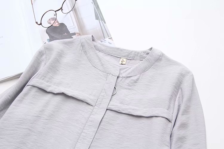 Shirt Solid Cotton Full Gray New Oversize Women Shirts Blue Plus navy 2019 O Sleeve Long Summer Neck Big Spring Size Ladies nX0xq7Uf