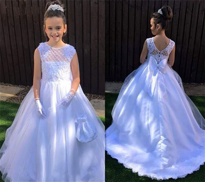 New Pure White Flower Girls Dresses A Line O Neck Lace Bow Kids First Communion Dress Girls Gown for Wedding Size2-16YNew Pure White Flower Girls Dresses A Line O Neck Lace Bow Kids First Communion Dress Girls Gown for Wedding Size2-16Y