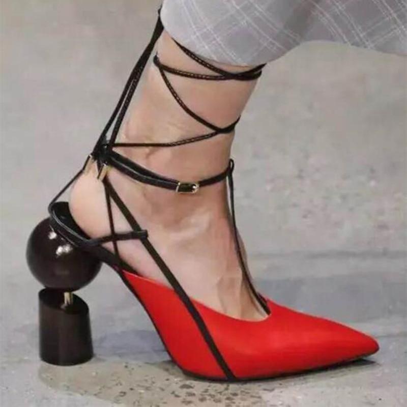 Tendances Véritable Lanières Étrange Modèle Talons Pompes Cheville Femme Piste Bout D'été Haute En 2018 Robe As Pointu Chaussures as Sandales Show Show Cuir 6q4n8Zxg5