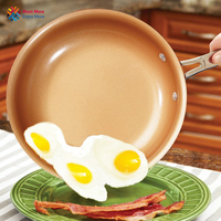 you shone 12 Inches Non-stick Copper Frying Pan with Ceramic Coating and gas cooking,Oven & Dishwasher safe  pot