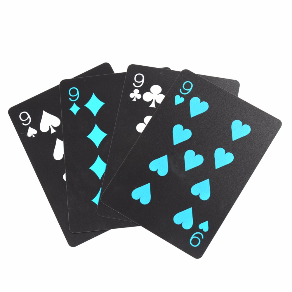 2/Set poker waterproof plastic pvc playing cards set pure color black poker card sets classic magic