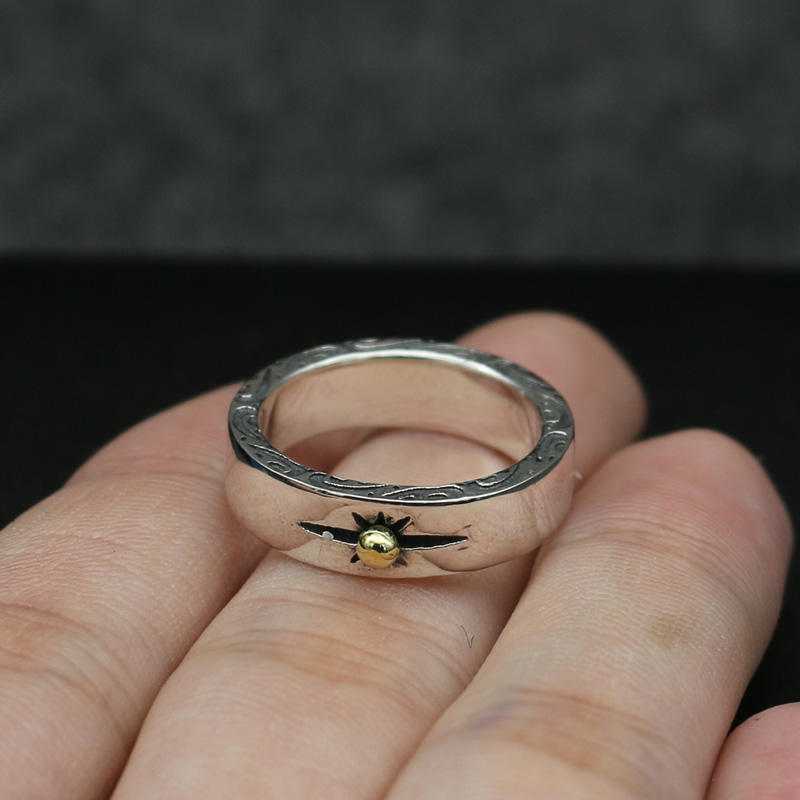 Vintage Indian Style Gold Sun Band Ring Men Women 100 Solid 925