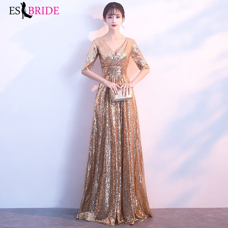 Luxury Formal Dresses Evening Gown Vestidos De Noche Largos Elegantes De Fiesta 2019 Evening Dresses Muslim Evening Dress ES1927