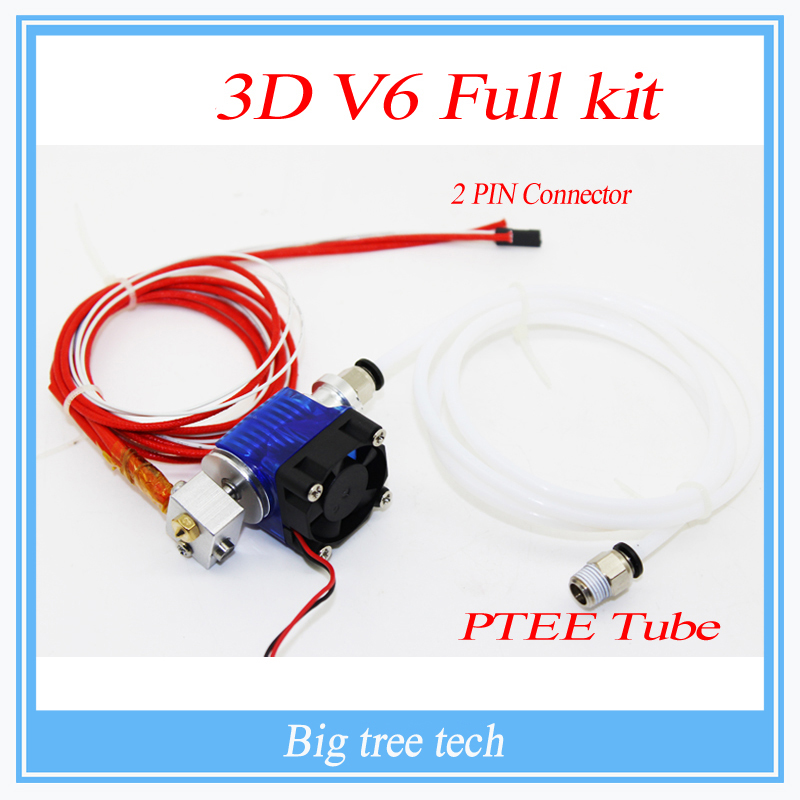 3D Printer J-head Hotend with Single Cooling Fan for 1.75mm/3.0mm 3D v6 bowden Filament Wade Extruder 0.2mm/0.3mm/0.4mm Nozzle 3d printer all metal j head hotend with cooling fan ptfe tubing for 1 75 3 0mm v6 bowden wade extruder 0 2 1 0mm nozzle