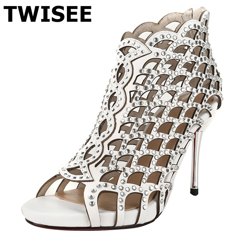 ФОТО TWISEE Cow Leather summer sandals Comfortable Solid ladies women shoes sandals Sheepskin Thin Heels woman casual shoes Rubber