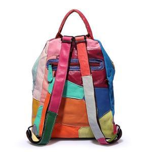 Image 5 - Brand new retro Genuine Leather Backpack Sheepskin lady Backpack Designer Travel Colorful Patchwork Luxury Shopper Bag Mochila