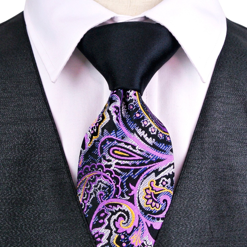 Paisley Patchwork Multicolor Black White Green Purple Blue Mens Ties Neckties 100% Silk Jacquard Woven Free Shipping Handmade