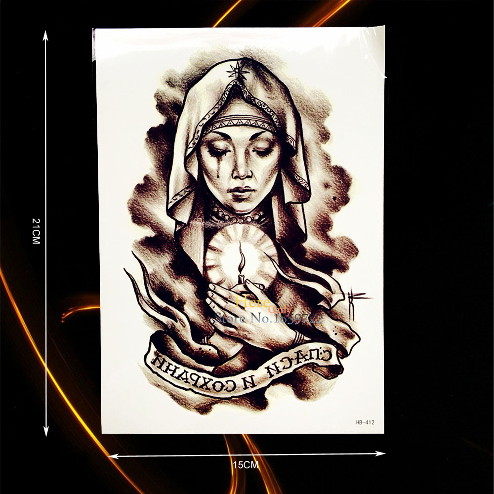 1PC Blessing Pray Christian Nun Design Waterproof Flower Arm Decal Tattoo Sleeve Body Art Temporary Tattoo Sticker Selfie HHB412