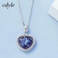 Cdyle Fashion Necklace Women Pendant S925 Sterling Silver Jewelry Purple Heart Shape Jewelry Bijous Australian Rhinestone