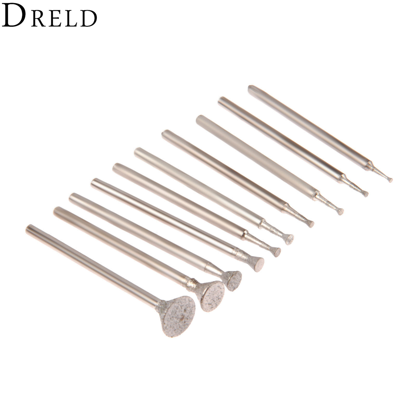DRELD 10Pcs Dremel Accesories Drill Diamond Grinding Head Burrs Bits 2.35mm Shank Jade Stone Engraving Carving Polishing Tool