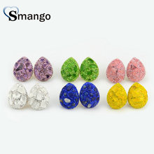 3 Pairs,The Shape of Water Drop Crystal Earrings for Women,Fashion Design.Six Colors Can Mix