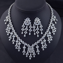 New design fashion luxury AAA Cubic Zirconia tassel necklace earring jewelry  set,high quality party/bridal wedding jewelry set