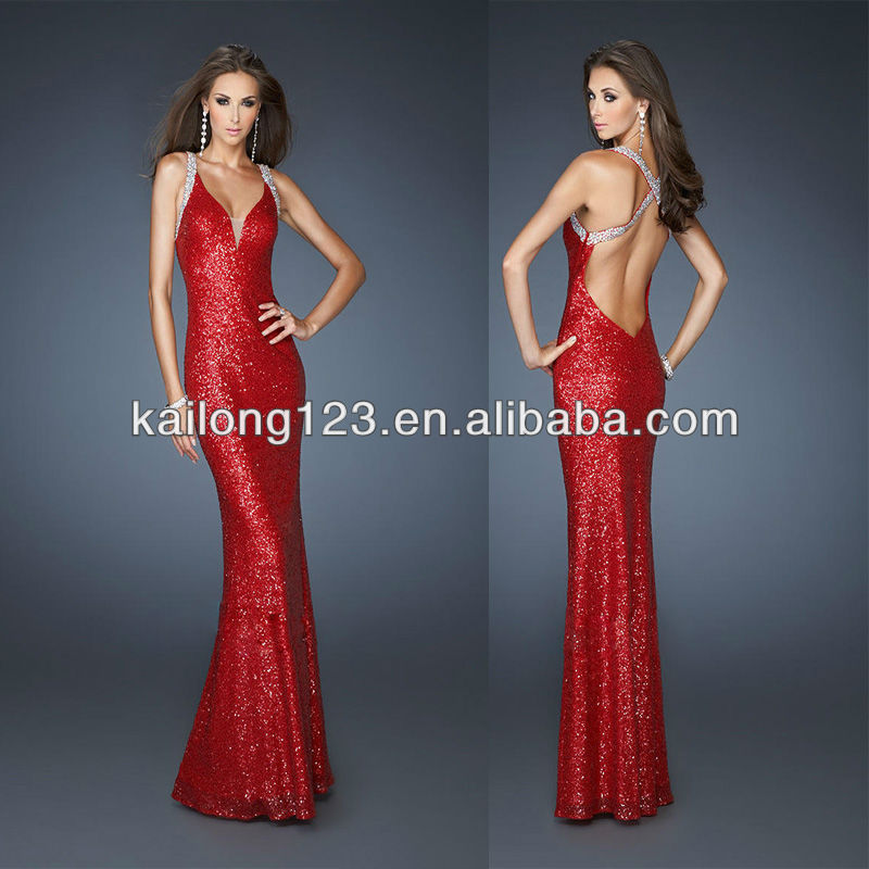c1dbf0e8a0 Stylish V-neck Beaded Straps Fitted Floor-length Red Open Back Long Sequin Prom  Dress