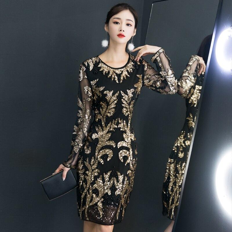 c4f88e9903f De Tenue Longues Or Robes Lumineux Femmes Robe D anniversaire Partie  Discothèque Manches Paillettes Black Femelle ...