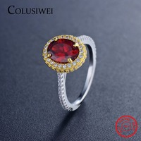 COLUSIWEI New Style Luxury Brand Classic Gold White Color Red CZ Rings Fashion Solid 925 Sterling