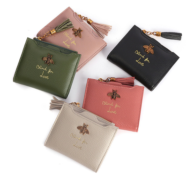 1d68fc39a82 Women Wallet Bee Designer Genuine Leather Luxury Fashion 100% Leather Coin  Purse Lady Credit Card