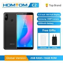 オリジナルhomtom C2 アンドロイド 8.1 2 ギガバイト + 16 ギガバイトrom携帯電話の顔id MTK6739 クアッドコア 13MPデュアルカメラota 4 グラムFDD LTEスマートフォン