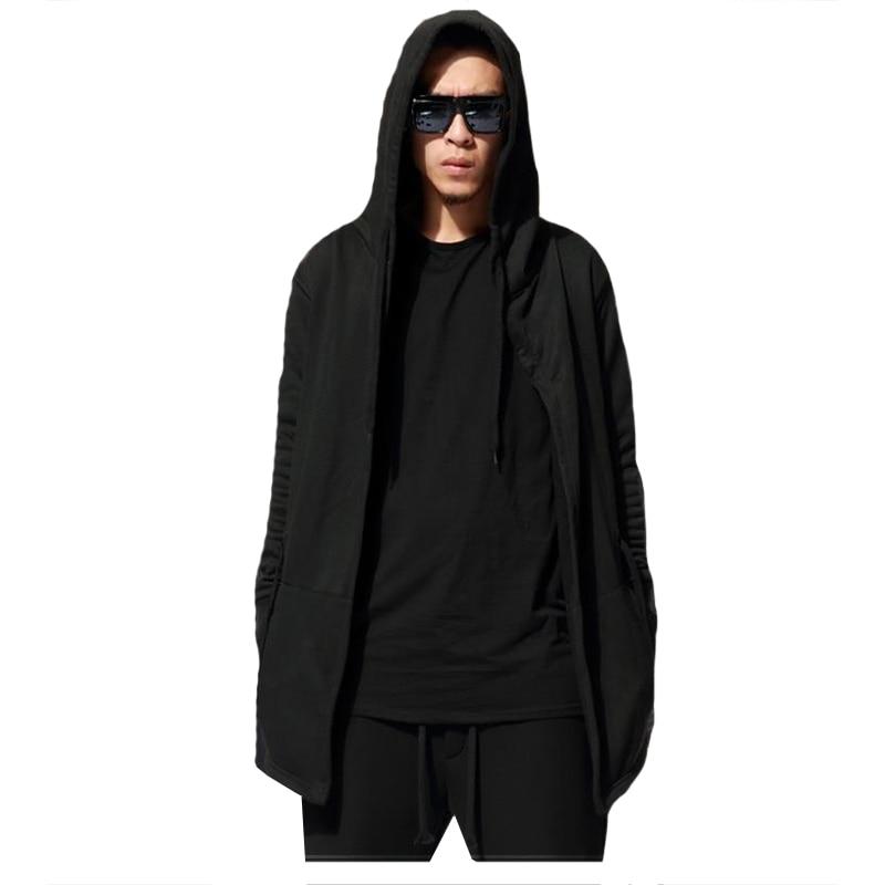 Loldeal Mens 봄 가을 Hooded 맨틀 가디건 Sweatshirt 긴 망토 Coat Manto Hoodie (아시아 Size)