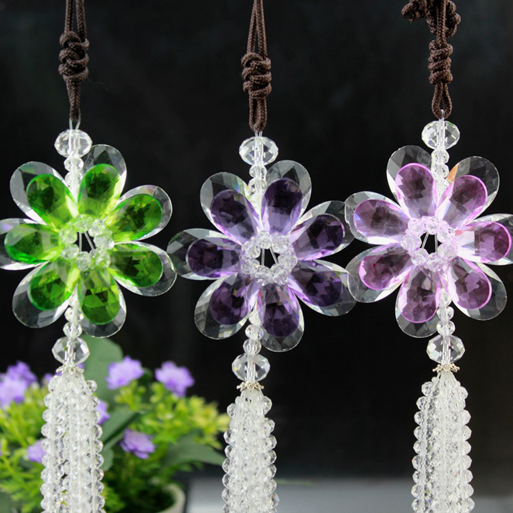Car interior hanging - Pretty Flower Hanging Ornament Crystal Car Pendant Car Interior Rearview Mirror Decoration Home Decor China