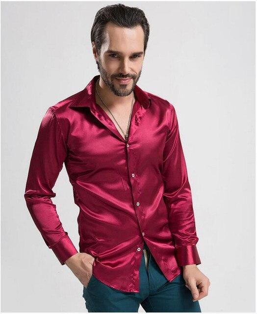 12 hombres de color camisa de Los Hombres de Seda de manga larga Camisas Casuales Para Hombre Camisas de vestir hombres Ajuste Personalizado y Elegante esmoquin de Muy buena calidad camisa