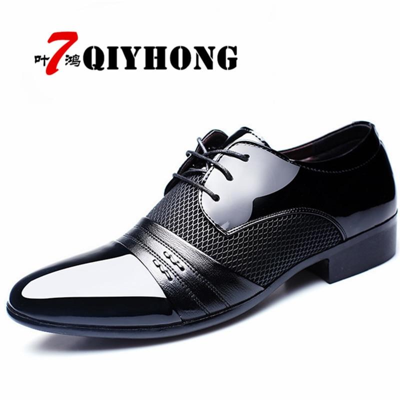 Qiyhong marca hombre vestido Zapatos más tamaño 38-48 hombres de negocios plana Zapatos negro marrón transpirable baja hombres oficina formal Zapatos
