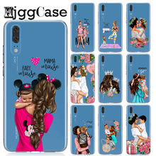 Black Brown Hair Baby Mom Girl Woman Silicone Phone Cover Case For Huawei P8 P9 Lite 2017 Honor 9 10 Mate 10 20 P10 P20 Lite Pro(China)