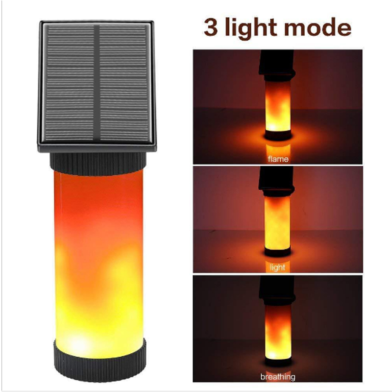 Led Solar Light Outdoors Waterproof Solar Power Fire Flame Wall Light LED Flickering Wall Lamp Solar