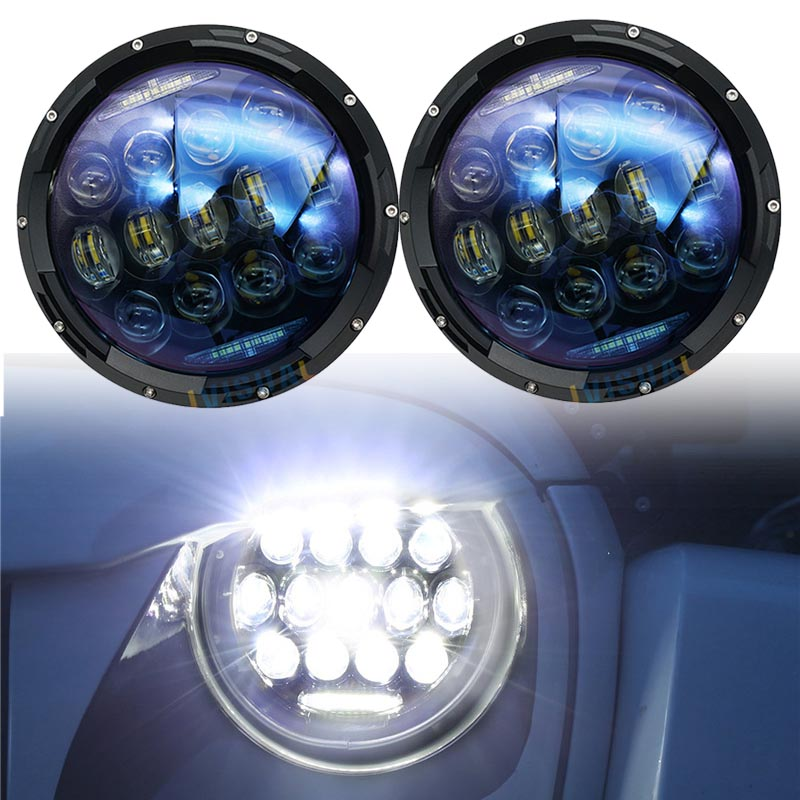2x Blue 130W Projector Daymaker Lens 7 Inch led headlights Hi/Lo beam DRL Turn signal lights for Jeep Wrangler JK TJ Hummer H1 blue projector lens 130w 7 inch led headlights for jeep wrangler jk lj jku 7inch led headlight with white drl amber signal