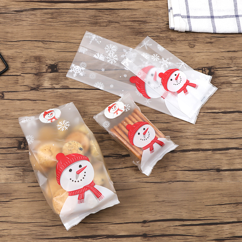 Us 2 23 10 Off Gift 50 Pcs Bag Cookie Fudge Candy Translucent Snowman Christmas 2 Size Large Small Scrub Cellophane Xmas Fashion In Bags Baskets
