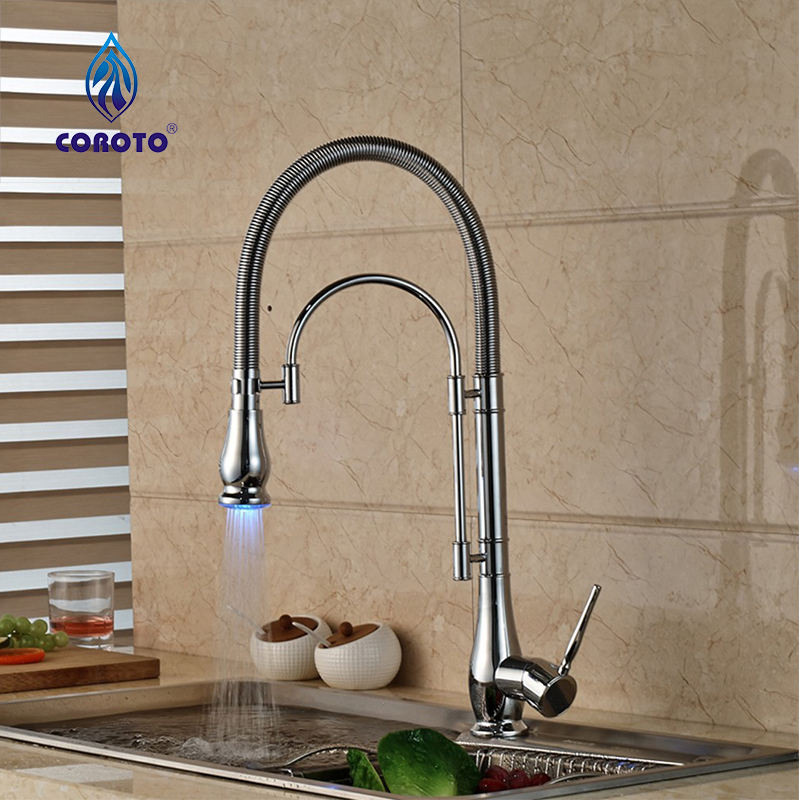 Free Shipping Pull Out Faucet Chrome Silver Swivel Kitchen Sink with ...