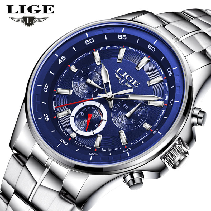 New LIGE Watches Men Luxury Brand Sport Waterproof Quartz Watch Men Full Stainless Steel Wristwatch Man Clock relogio masculino weide japan quartz watch men luxury brand leather strap stainless steel buckle waterproof new relogio masculino sport wristwatch