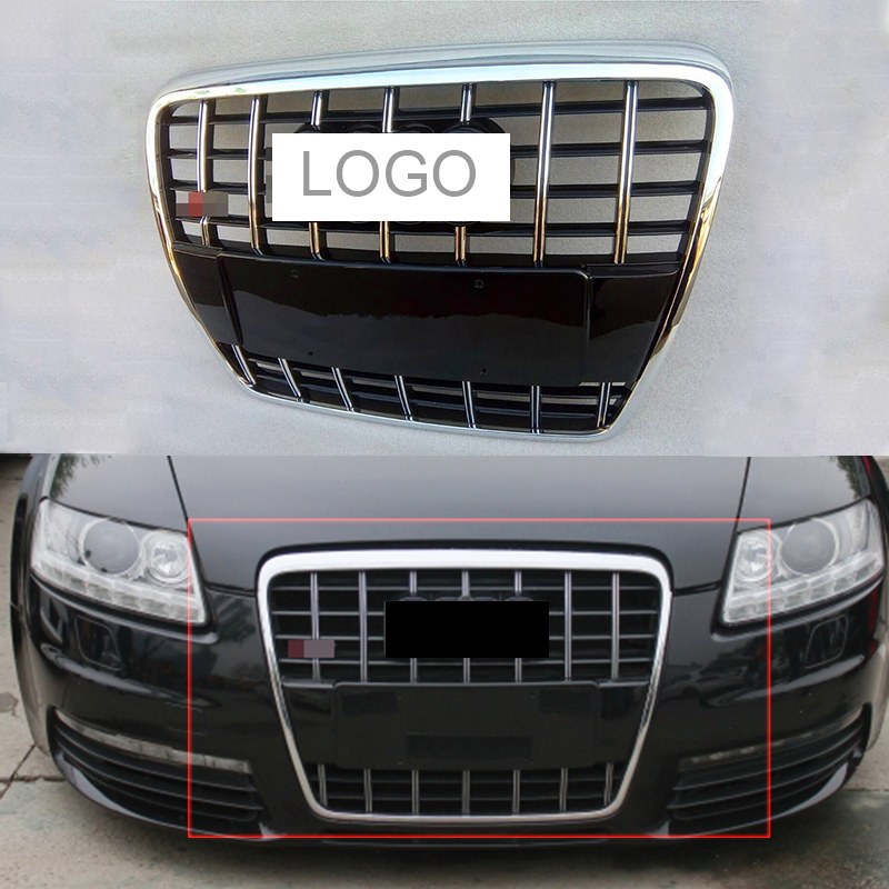 все цены на Car Racing Grill For Audi A6/ A6 Quattro C6 S6 2005-2011 Grille Emblems Sliver Radiator Chrome Black Front Bumper Modify Mesh онлайн
