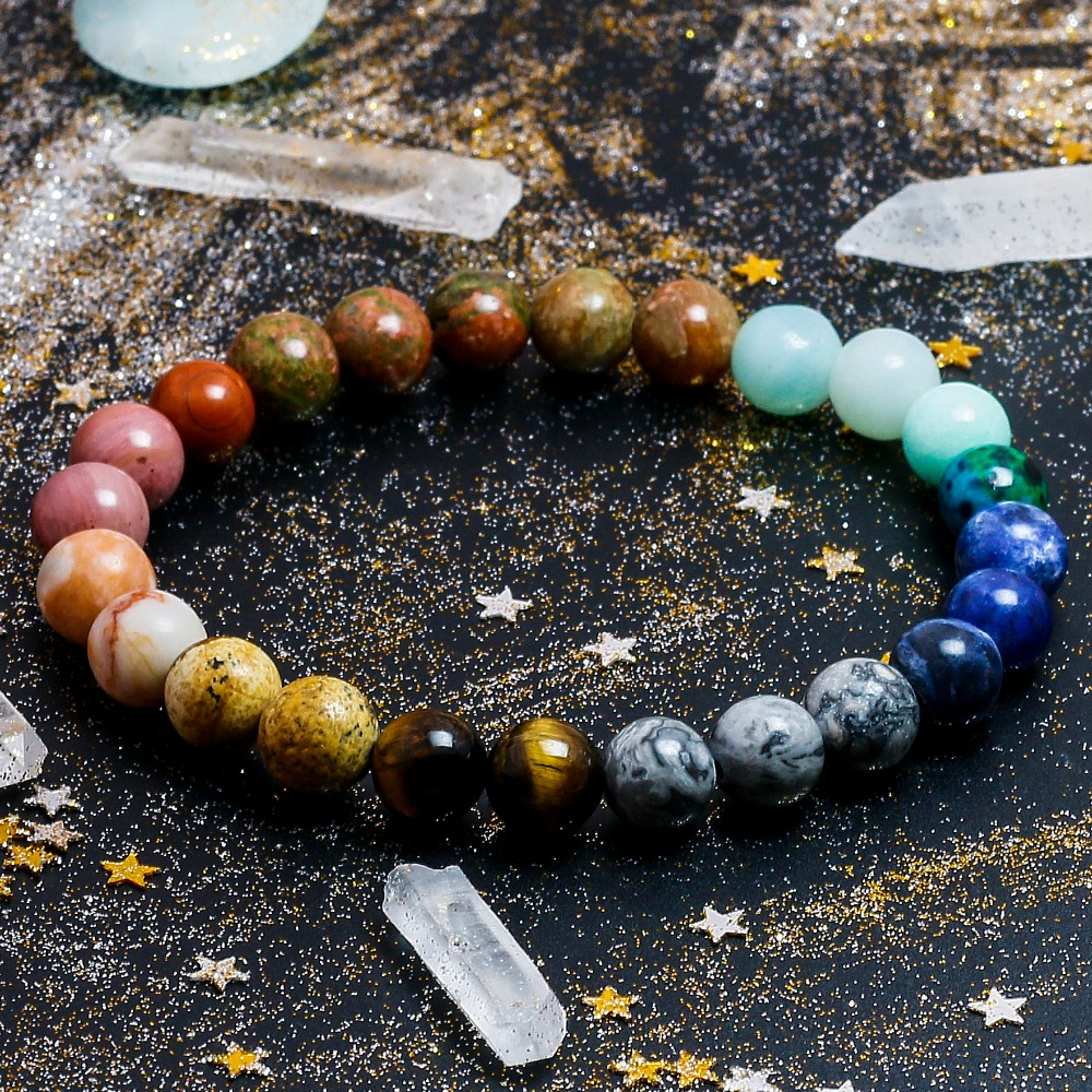 Universe Premium Space Planets Solar System Natural Stone Beads Bracelet 3
