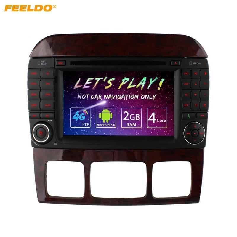 FEELDO 7 inch Android 6.0 (64bit) DDR3 2G/16G/4G LTE Quad Core Car DVD GPS Radio Head Unit For Mercedes Benz S W220 S280/S320