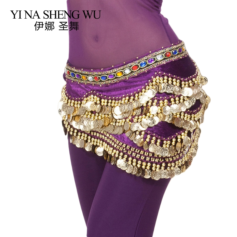 New 328 Coins Belly Dance Waist Chain 1pc Bellydance Beaded Colorful Rhinestone Belt Waist Chain Egyptian Nile Dance Waist Chain