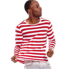 Red and White Striped T Shirts for Men Long Sleeve Round Neck Tees for Men Autumn Casual Party Cos Costume Cosplay Halloween стоимость