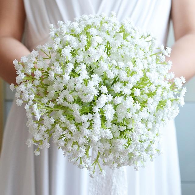 2016 Cheap Bridesmaid Wedding Bouquet White Gypsophila/babysbreath Artifical Flower Bridal Bouquet Artificial bouquet de mariage