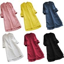 цены на Women Retro Cotton Linen Long Sleeve Casual Loose Solid Long Tops Blouse Mini Shirt Dress  S-5XL в интернет-магазинах