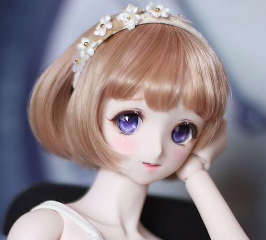 New 1/4 17.5~19.5cm Honey brown Pear Flower Short hair BJD SD MSD Doll Wig ...