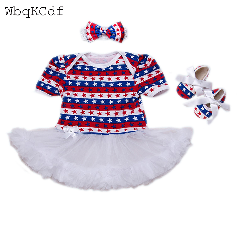 Baby Girl Outfits American Flag Patriotic Girl Gowns Newborn Infant 4th of July Girl Rompers Baby Jumpersuits Bebes Clothes