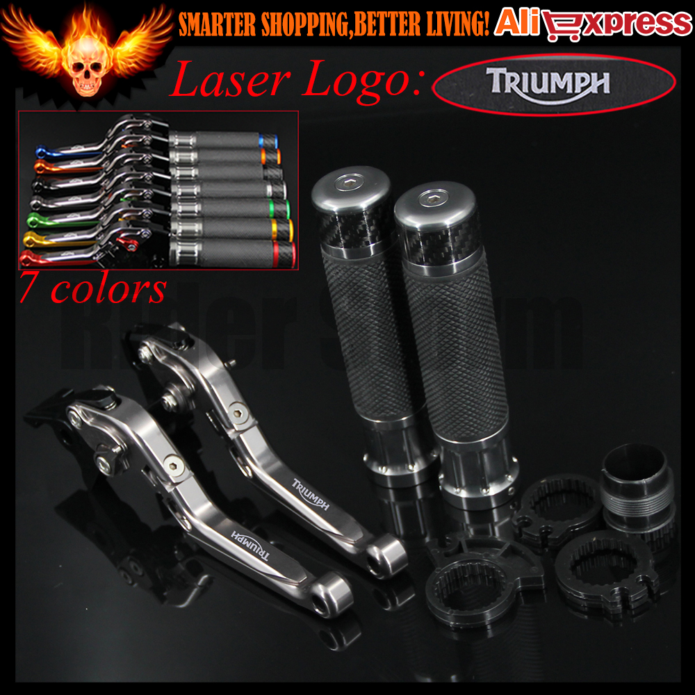 ФОТО 7 Colors Full Titanium CNC Folding Extendable Motorcycle Brake Clutch Levers&Handlebar Hand Grips For Triumph THRUXTON 2016