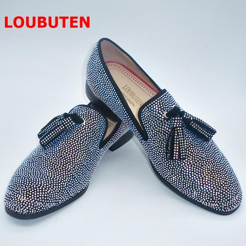 LOUBUTEN New Handmade Sparkling Crystal Rhinestone Men Loafers Luxury Suede Slip On Men Shoes Fashion Tassel Mens Dress Shoes