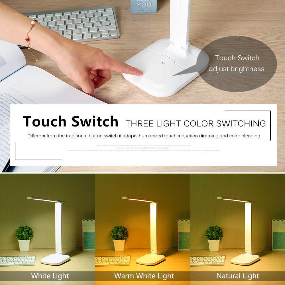 Светодиодный настольный светильник складной сенсорный диммер настольные лампы USB зарядка защита глаз свет для чтения с многофункциональным основанием