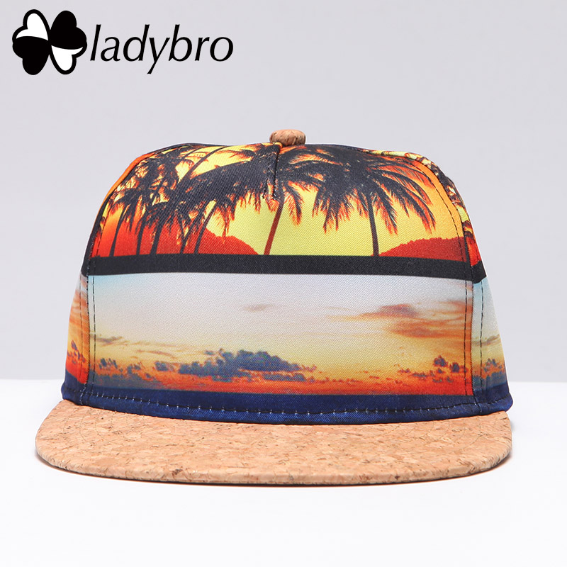 Ladybro 3D Print Cap Men Street Hip Hop Hat Cap Women Baseball Cap Female Waves Wolf Eyes Beach Hat Bone Ladies Flat Brim Hat