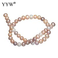 Potato Cultured Freshwater Pearl Beads natural mixed colors Grade AAA 9 10mm Hole:Approx 0.8mm Sold Per Approx 15.7 Inch Strand
