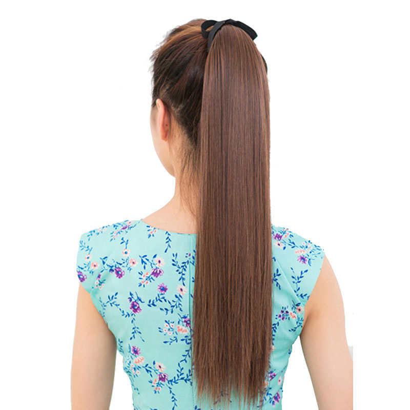 SNOILITE Long Synthetic Straight Ponytails 22 120g Clip In Ponytail Hair Extension Hair piece 14 Colors