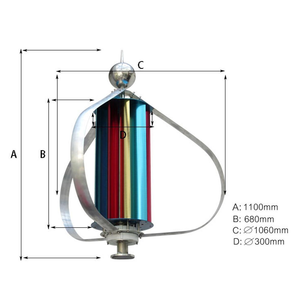 Contrôleur Vertical de Charge de générateur de vent 12V 300W triphasé moulin à vent Vertical Axial Kit de contrôleur de générateur d'énergie éolienne - 6