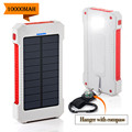 10000Mah Solar Charger 2 USB Ports Solar Power Bank Bateria Externa Portable Charger for Smartphone With Compass SOS Waterproof