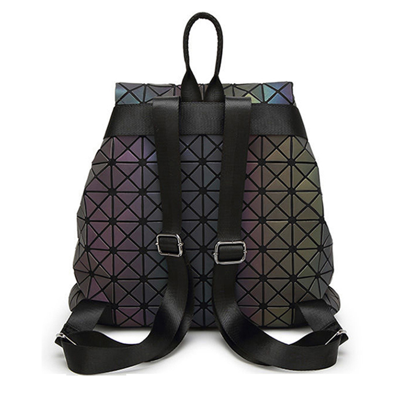 Image 3 - Women Geometric Backpack Luminous Female Evening Bag Diamond Sequins PU Laser Back Pack Lady Casual Plaid Bao Mochila BP0232-in Backpacks from Luggage & Bags